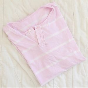 Vintage Pink Stripe Boxy Button Henley Tee